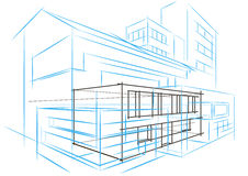 Linear architectural sketch concept abstract building Stock Photography