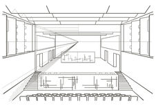 Linear architectural sketch concert hall Stock Photo