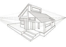 Linear architectural sketch detached house Royalty Free Stock Photography