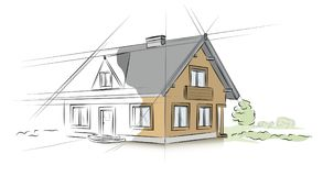 Linear architectural sketch detached house. Vector Stock Photo