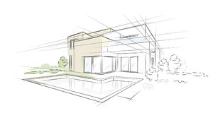 Linear architectural sketch detached house Royalty Free Stock Images
