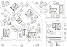 Linear architectural sketch general plan of village Royalty Free Stock Images