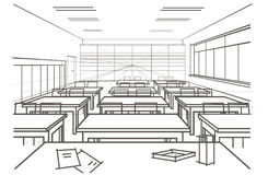 Linear architectural sketch interior classroom Royalty Free Stock Image