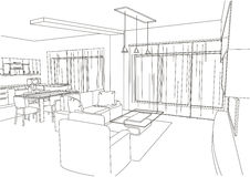 Linear architectural sketch living-room royalty free illustration
