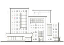 Linear architectural sketch of multistory building with red window Royalty Free Stock Photography