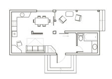 Linear architectural sketch plan studio house Royalty Free Stock Images
