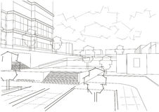 Linear architectural sketch residential quarter. On white background Stock Photos
