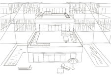 Linear architectural sketch terraced houses white background Stock Image