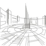 Linear architectural sketch town square Royalty Free Stock Image