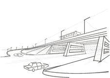 Linear architectural sketch viaduct. Bridge overhead road vector illustration