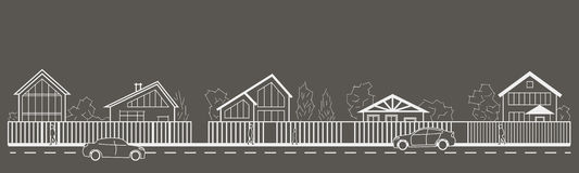 Linear architectural sketch village street front view on gray background Royalty Free Stock Image