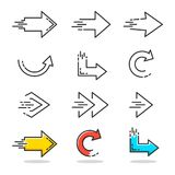 Linear arrow icons. Arrows icons set in linear style design. Vector graphic illustration Stock Photo