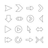 Linear arrow icons. Set of linear icons for web site Royalty Free Stock Photo