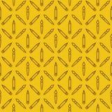 Linear art tools flat vector yellow seamless pattern Stock Image