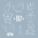 Linear baby boy items set Royalty Free Stock Photo