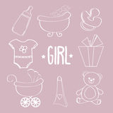 Linear baby girl items set Royalty Free Stock Photos