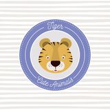 Linear background with color frame decorative and face tiger cute animals text. Vector illustration Stock Photography