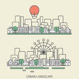 Linear background with urban landscape, a stylish. Modern design for your business, vector illustration eps 10 Royalty Free Stock Photography
