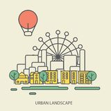 Linear background with urban landscape, a stylish Royalty Free Stock Photos