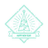 Linear badge with Christmas tree. Linear badge or labels with Christmas tree for greetings cards, gift tags, Christmas sale or web design. Thin lines. Template Royalty Free Stock Image