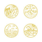 Linear badges and logo Royalty Free Stock Photos