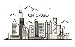 Linear banner of Chicago city. Line art. Royalty Free Stock Photography