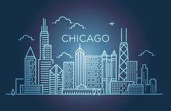 Linear banner of Chicago city. Line art. Royalty Free Stock Photos