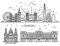 Linear banner of London city. Historical and modern symbols of London and British culture.The set of buildings Stock Photos