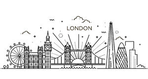 Linear banner of London city. Stock Photos