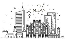 Linear banner of Milan city. Italy, Milan architecture line skyline illustration. Linear vector cityscape with famous landmarks, city sights, design icons Stock Image