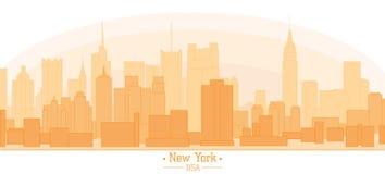 Linear banner of New York city buildings landmarks day skyline s Stock Photography