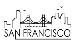 Linear banner of San Francisco city. All San Francisco buildings - customizable objects with opacity mask, so you can simple chang vector illustration