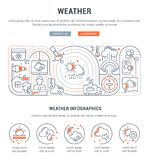 Linear Banner of Weather. vector illustration