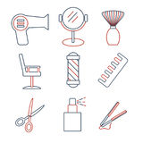 Linear barbershop icons set. Universal hairstyle icon to use in web and mobile UI stock illustration