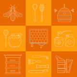 Linear beekeeping icons. Set of linear icons beekeeping.  Vector illustration Royalty Free Stock Image