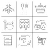 Linear beekeeping icons. Set of linear icons beekeeping.  Vector illustration Royalty Free Stock Photos