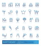 Linear birthday icons set with reflection. Happy Birthday Party line icon set with reflection. Vector illustration Royalty Free Stock Images