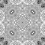 Linear black and white floral pattern Royalty Free Stock Photo