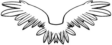 Linear black and white symmetrical wings. Graphical vector drawing. Transparent png file attached royalty free illustration