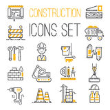 Linear black yellow construction icons set universal web and mobile basic ui elements and worker equipment flat industry Stock Image
