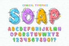 Linear bubble comical font design, colorful alphabet. Typeface. Color Swatches control stock illustration