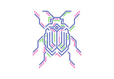 Linear bug in techno style. Vector illustration on white background. Royalty Free Stock Photography