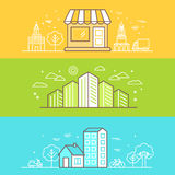 Linear Buildings Icons Stock Images