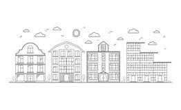 Linear Buildings on the Street. Vector vector illustration