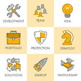 Linear business icons. Development, team, idea, portfolio, prote Stock Image
