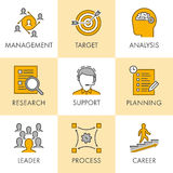 Linear business icons. Management, target, analysis, research, s Royalty Free Stock Photography