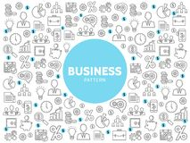 Linear Business Pattern. With finance marketing management and economy line icons vector illustration Stock Photo