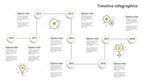 Linear business timeline workflow infographics. Corporate milestones graphic elements. Company presentation slide template with y. Ear periods. Modern vector stock illustration