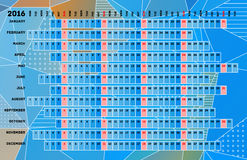 Linear calendar 2016. With days color coding Royalty Free Illustration