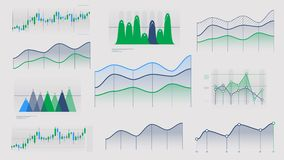 Linear And Candlestick Charts Without Data Stock Footage